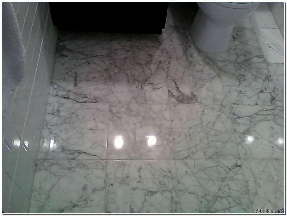 Polished White Cararra Bathroom Floor