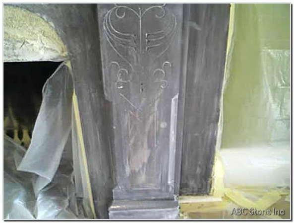 Slate Fireplace Repair. Before