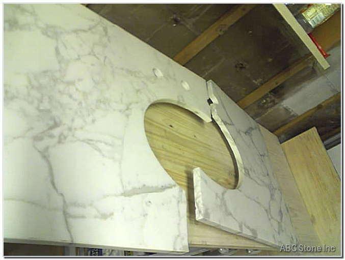 Marble Vanity Crack Repair. Before