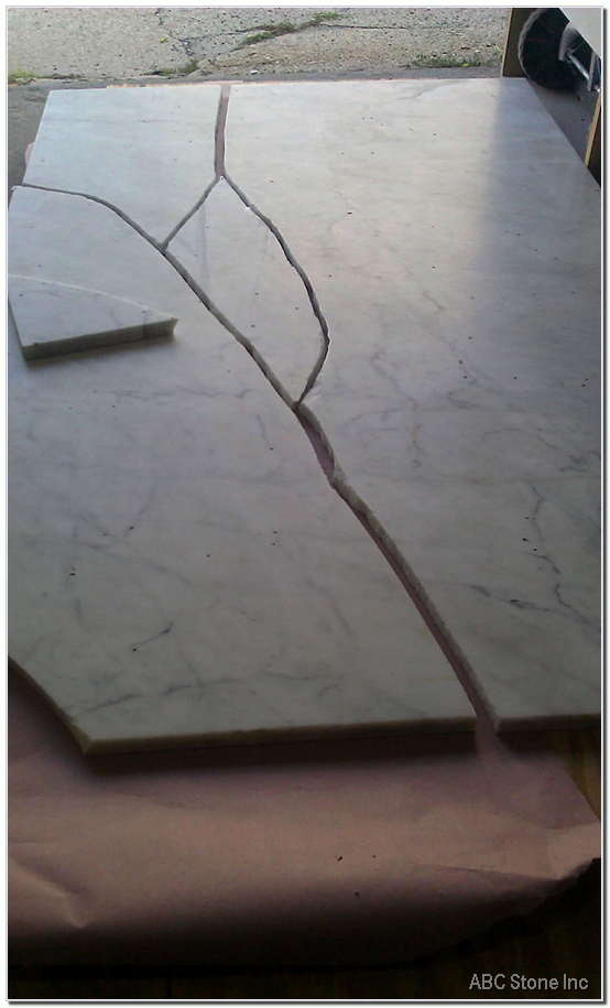 Broken Tabletop. White Carrara Marble